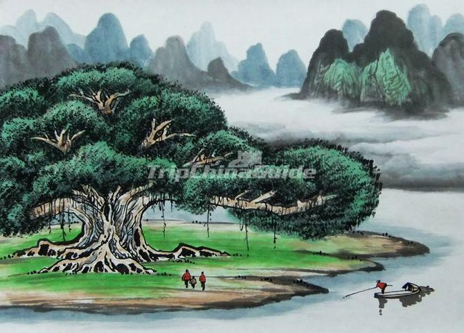Big Banyang tree in traditional Chinese painting