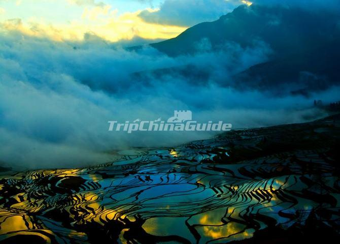 yuanyang rice terraces in fog