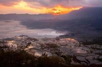 Duoyishu Rice Terraces Sunrise Scenery