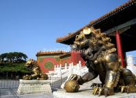 Stone Lion Sculpture at Forbidden City China
