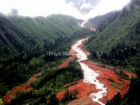 The Red Stone Shoal in Hailuogou National Glacier Forest Park