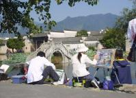 People Sketching at Hongcun Village Anhui