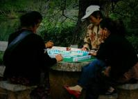 People Play Mahjong at Lijiang Black Dragon Pool Park