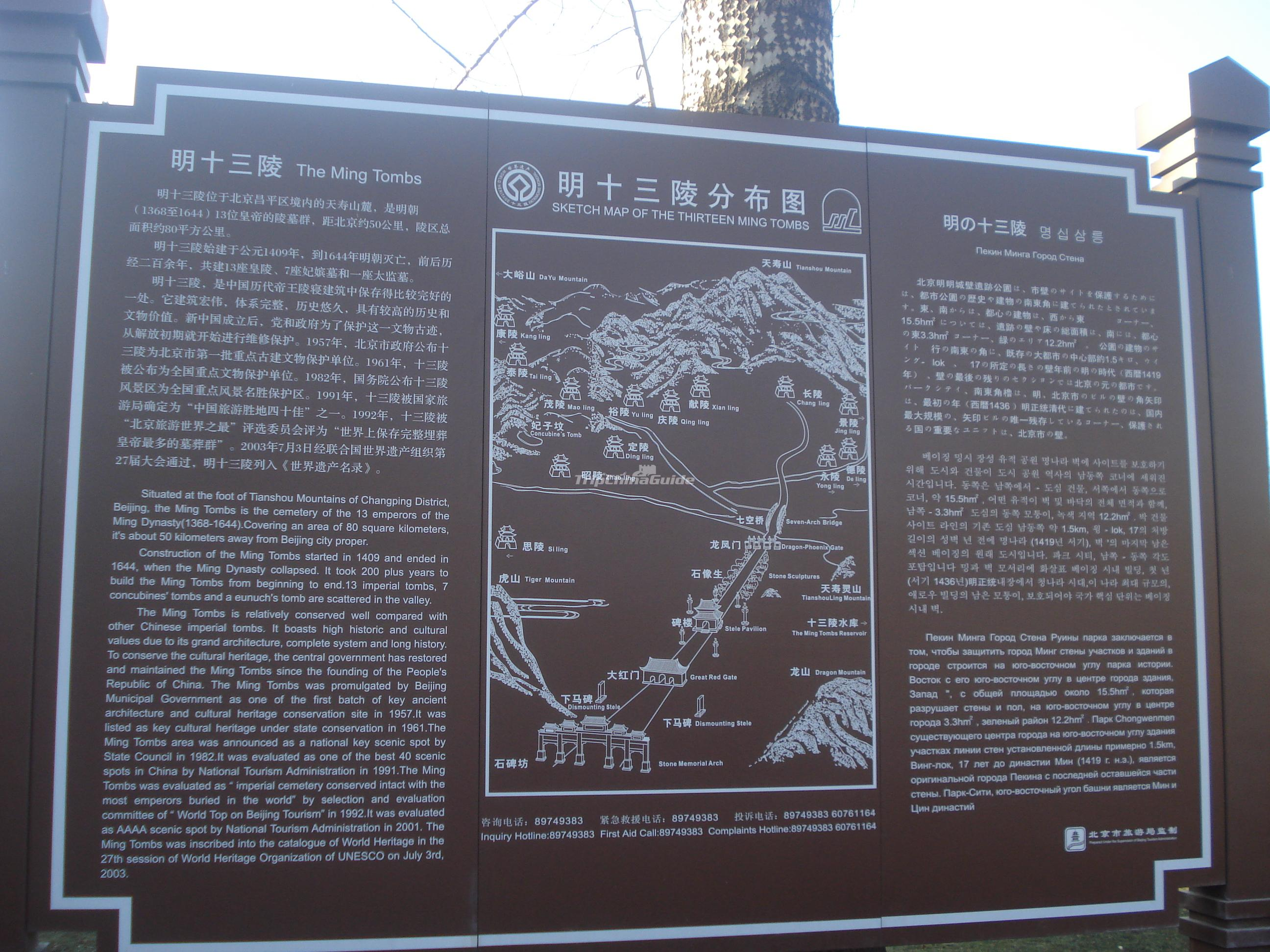 Sketch Map of the Thirteen Ming Tombs