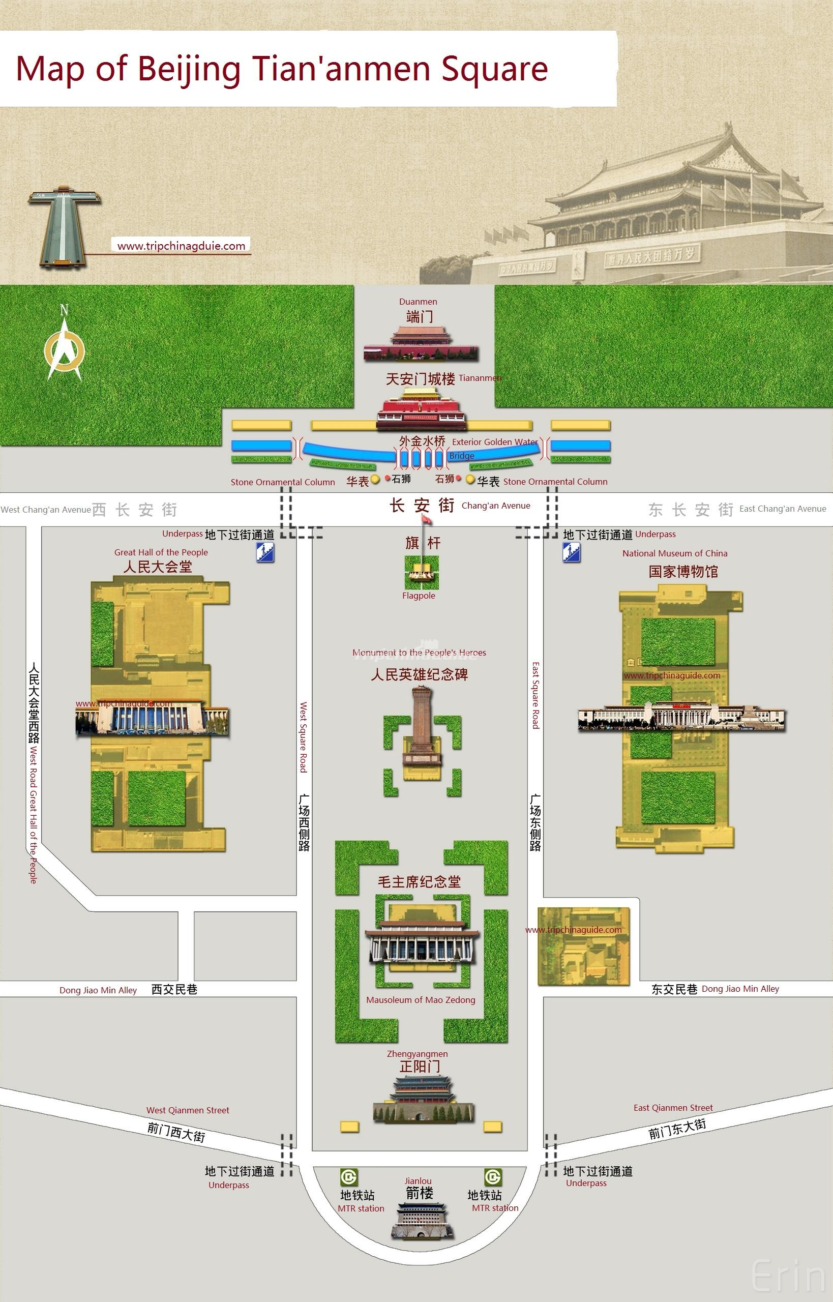 Beijing Tiananmen Square Map