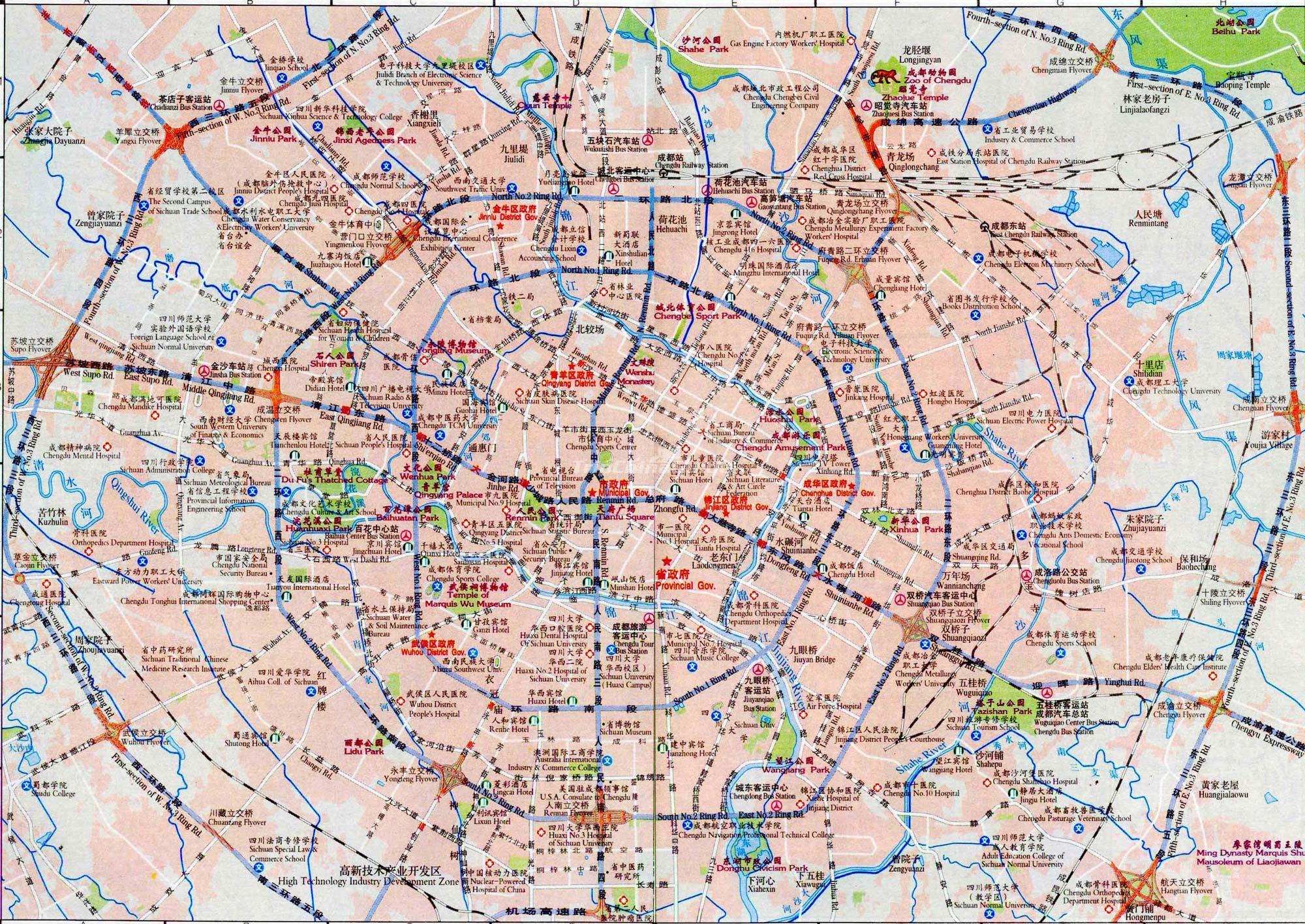 Map of Chengdu - Maps of Chengdu Chengdu City Map on