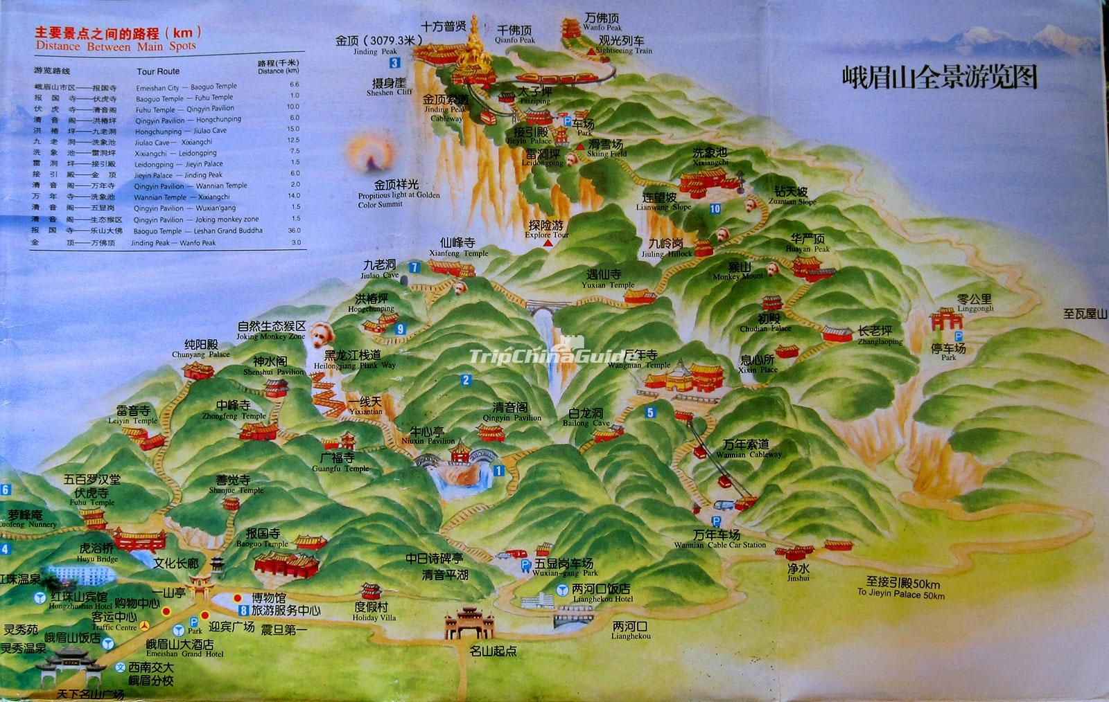 Emei Mountain Map Chengdu - Maps of Chengdu