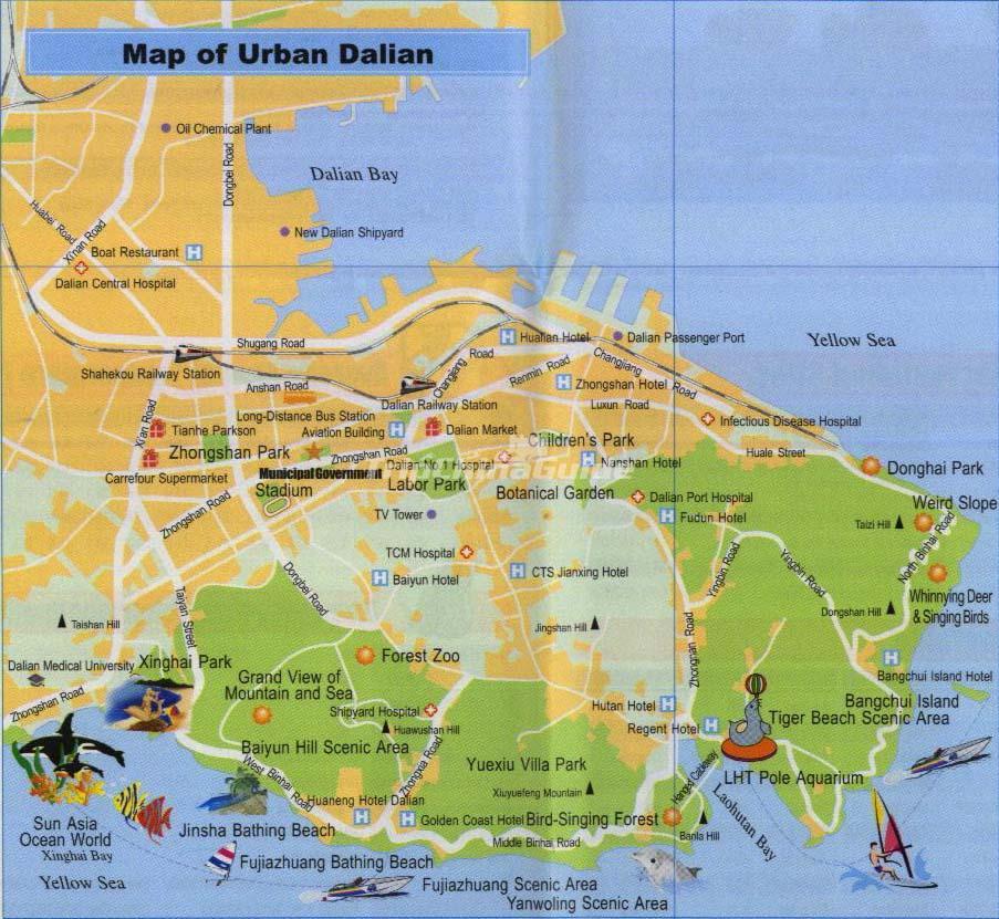 Dalian China Tourist Map - Maps of Dalian on