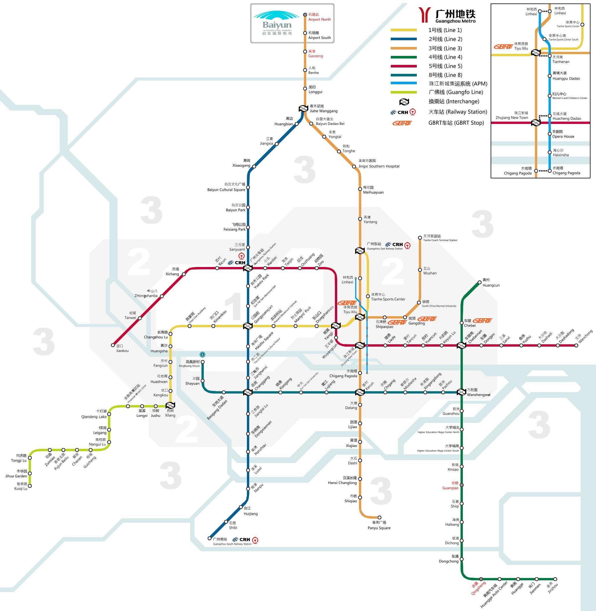 Guangzhou Metro Map Maps Of Guangzhou