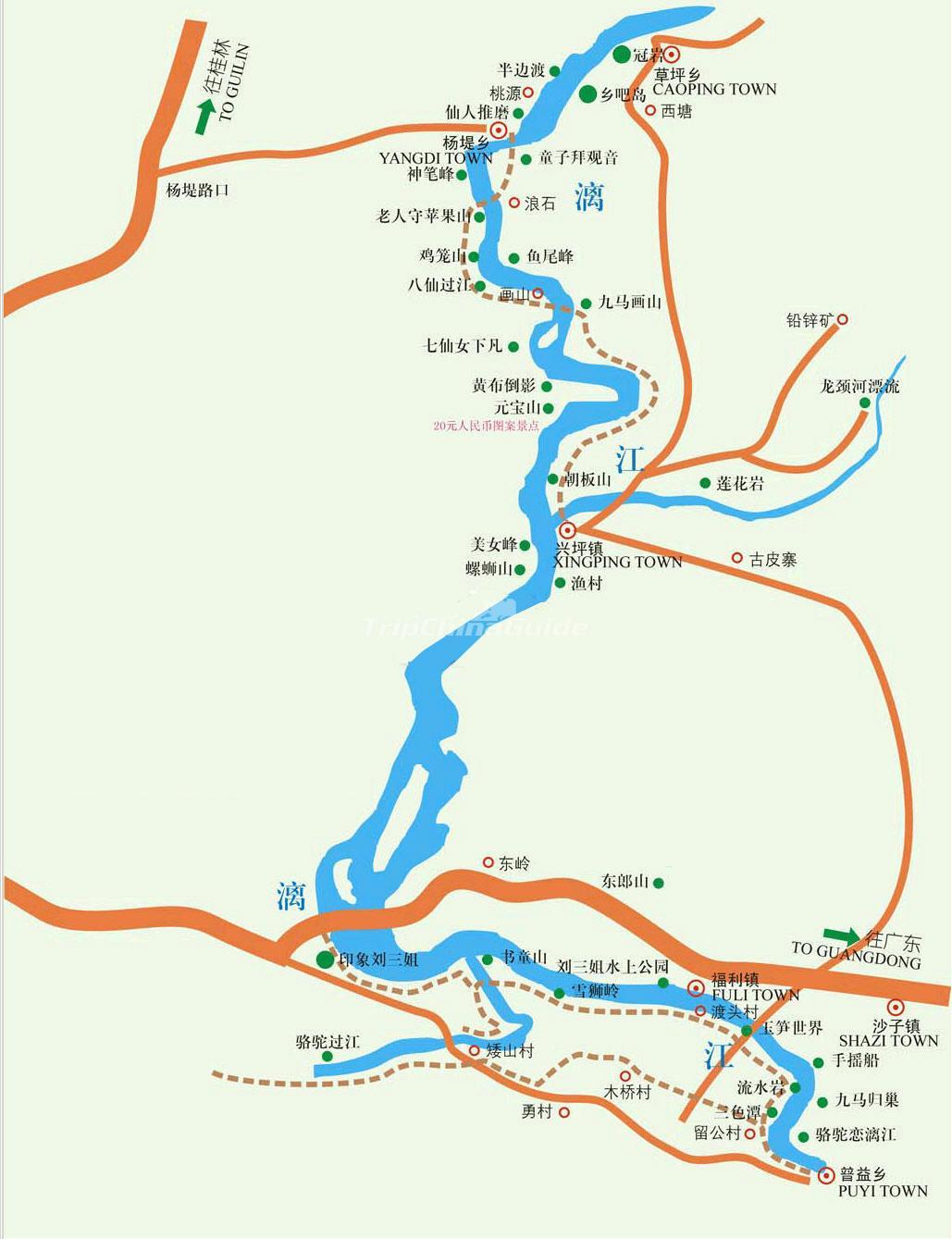 Li River China Map Maps Of Guilin - China rivers map