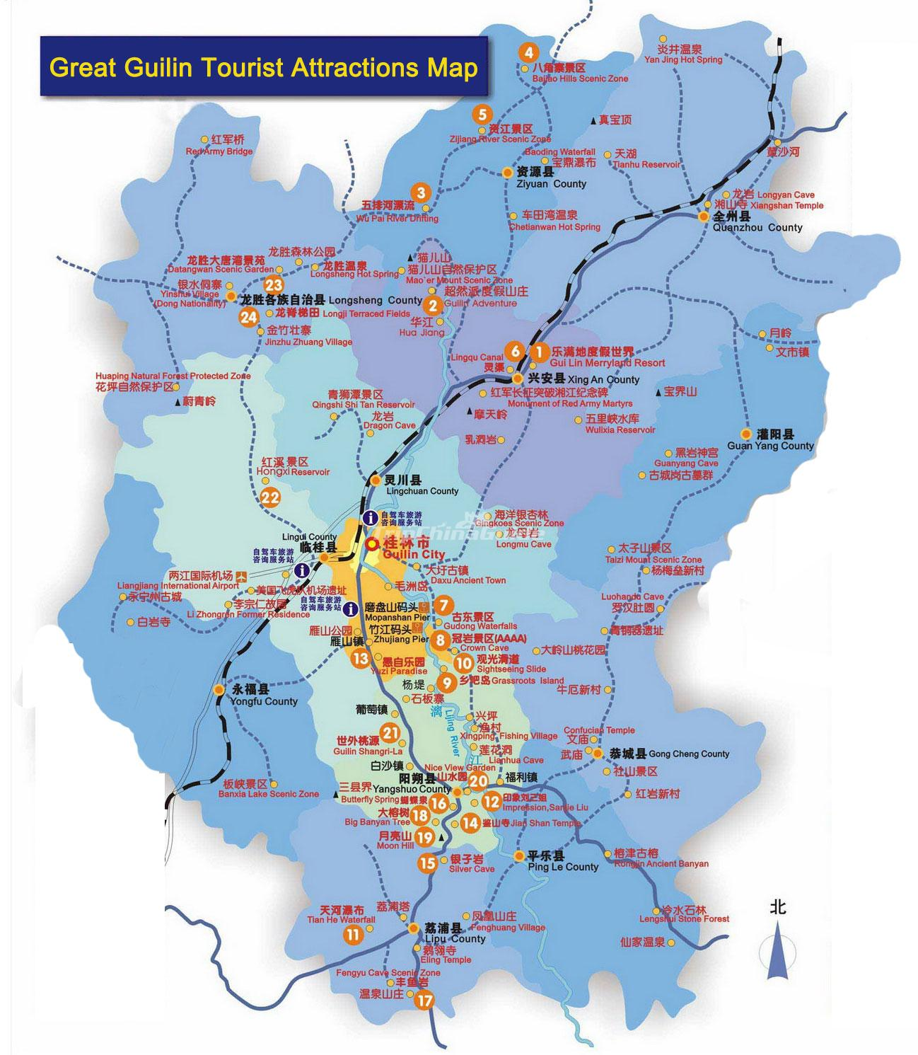 Guilin Tourist Attractions Map Maps of Guilin – Tourist Attractions Map In China