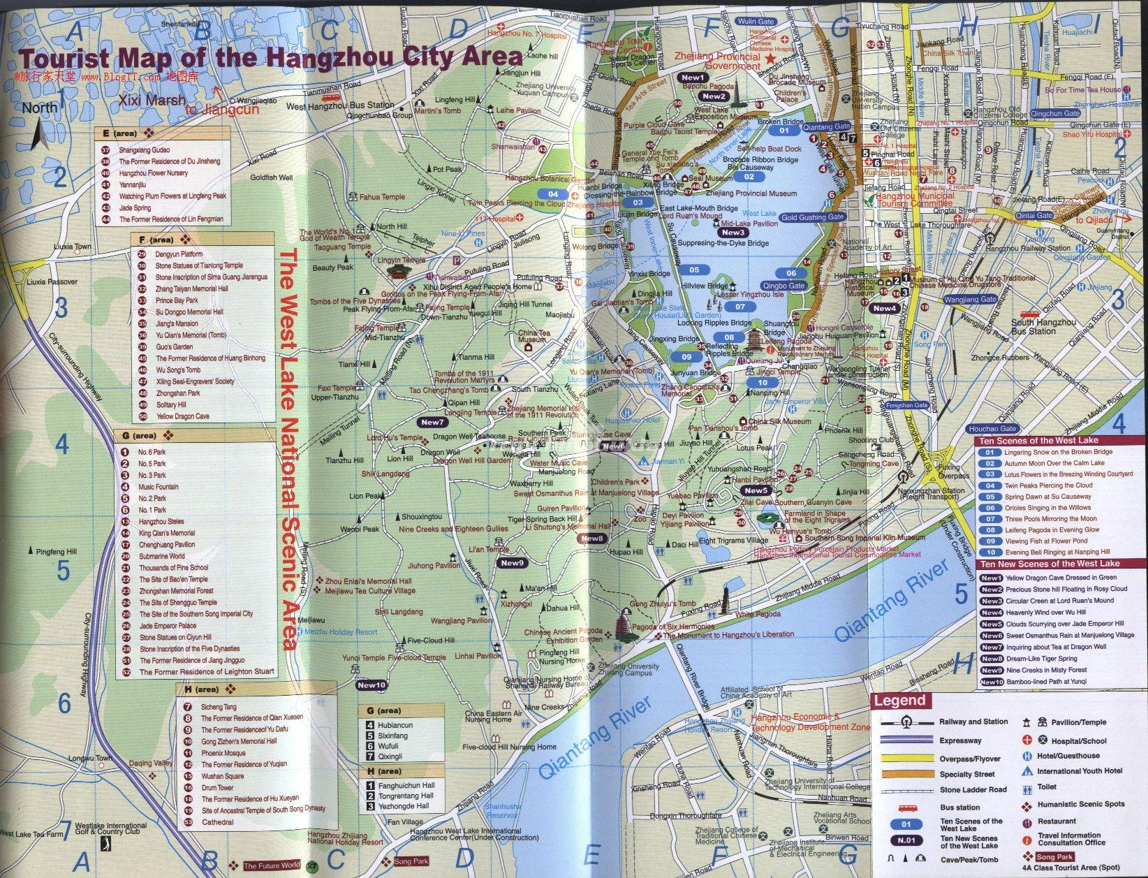 Tourist Map of the Hangzhou City Area Maps of Hangzhou