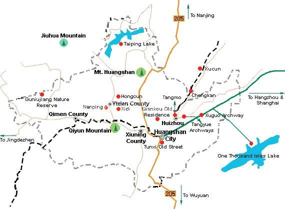 Yellow Mountain Map Maps Of Huangshan - Jingdezhen map