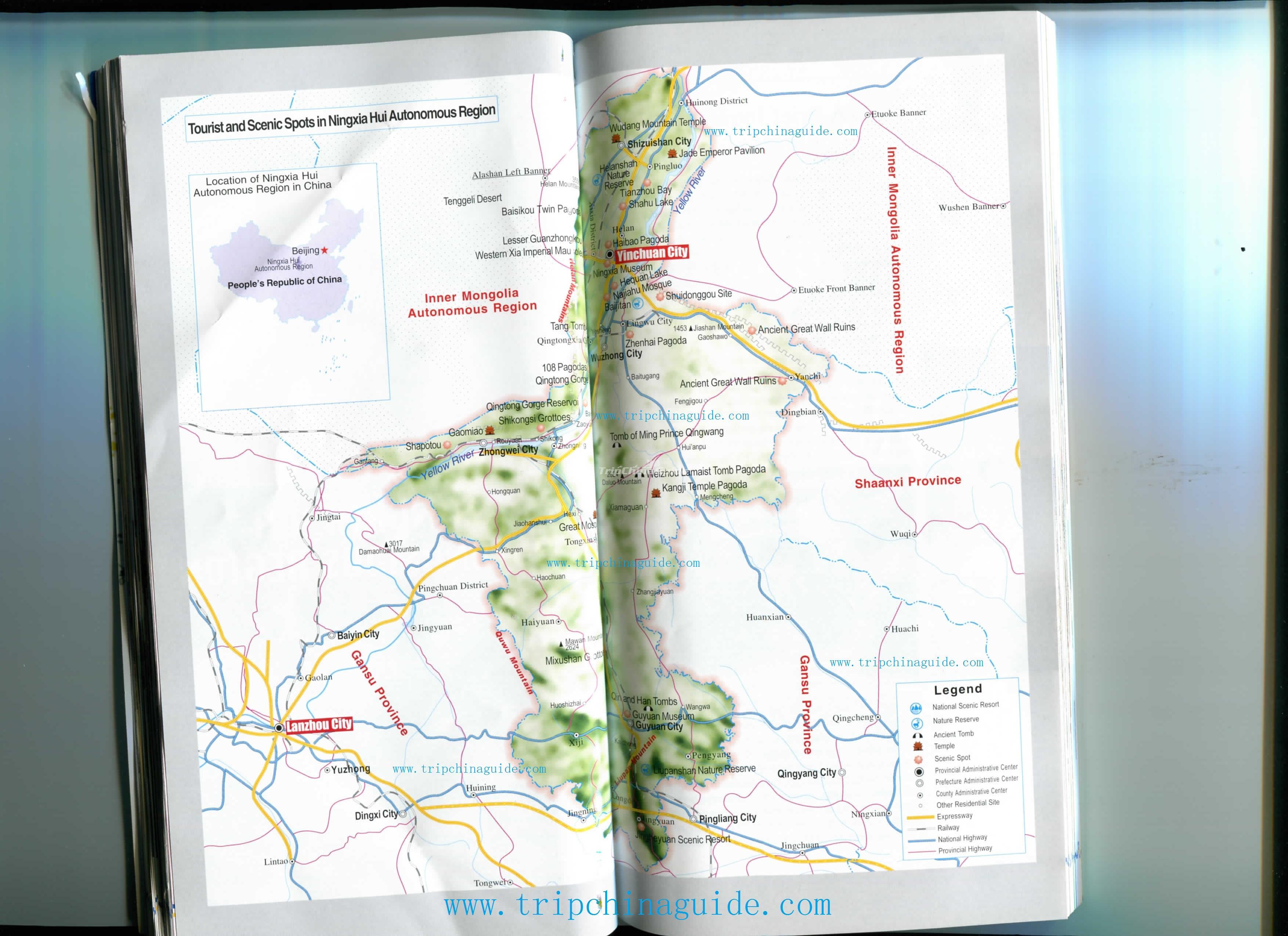 Ningxia China Map.Map Of Scenic Spots In Ningxia Hui Autonomous Region Maps Of Ningxia