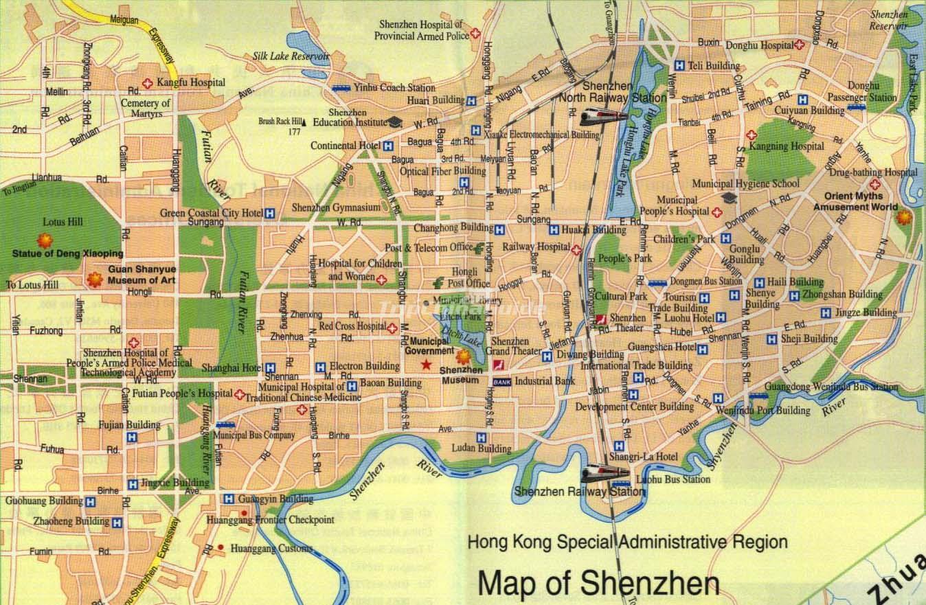 Shenzhen china map maps of shenzhen shenzhen china map gumiabroncs Images