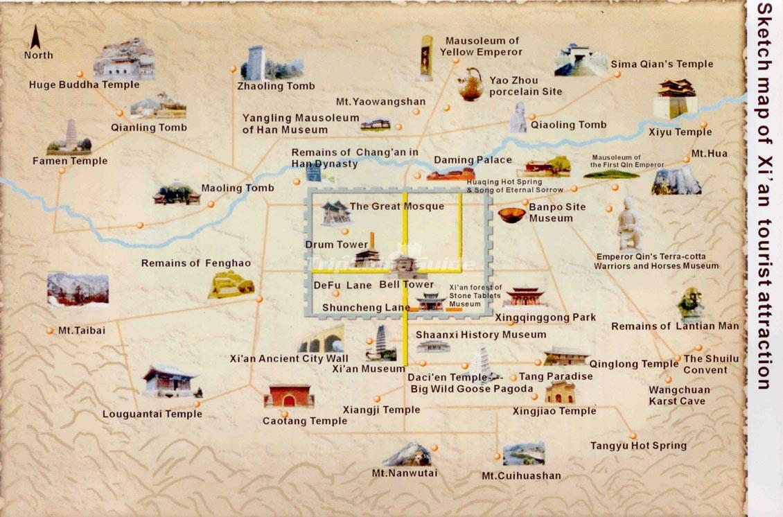 Xian Tourist Attractions Map Maps of Xian
