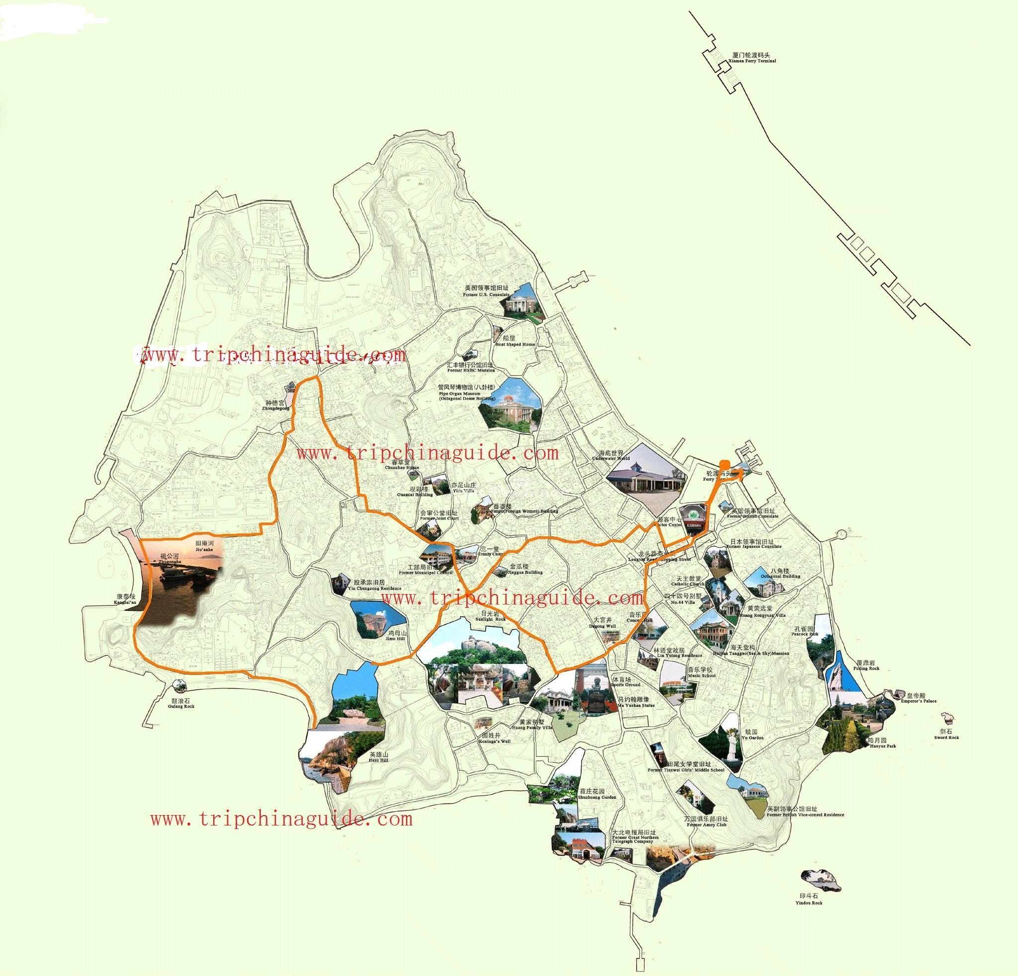 Xiamen China Map.Xiamen Gulangyu Island Map Maps Of Xiamen
