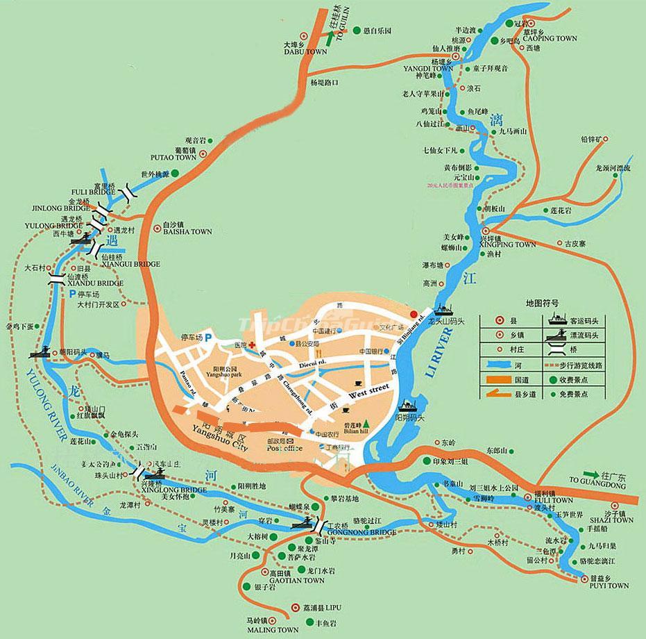 River Map Of China.Li River And Yulong River Map Yangshuo Maps China