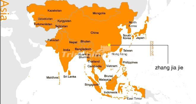 Zhangjiajie Map in Asia - Maps of Zhangjiajie on