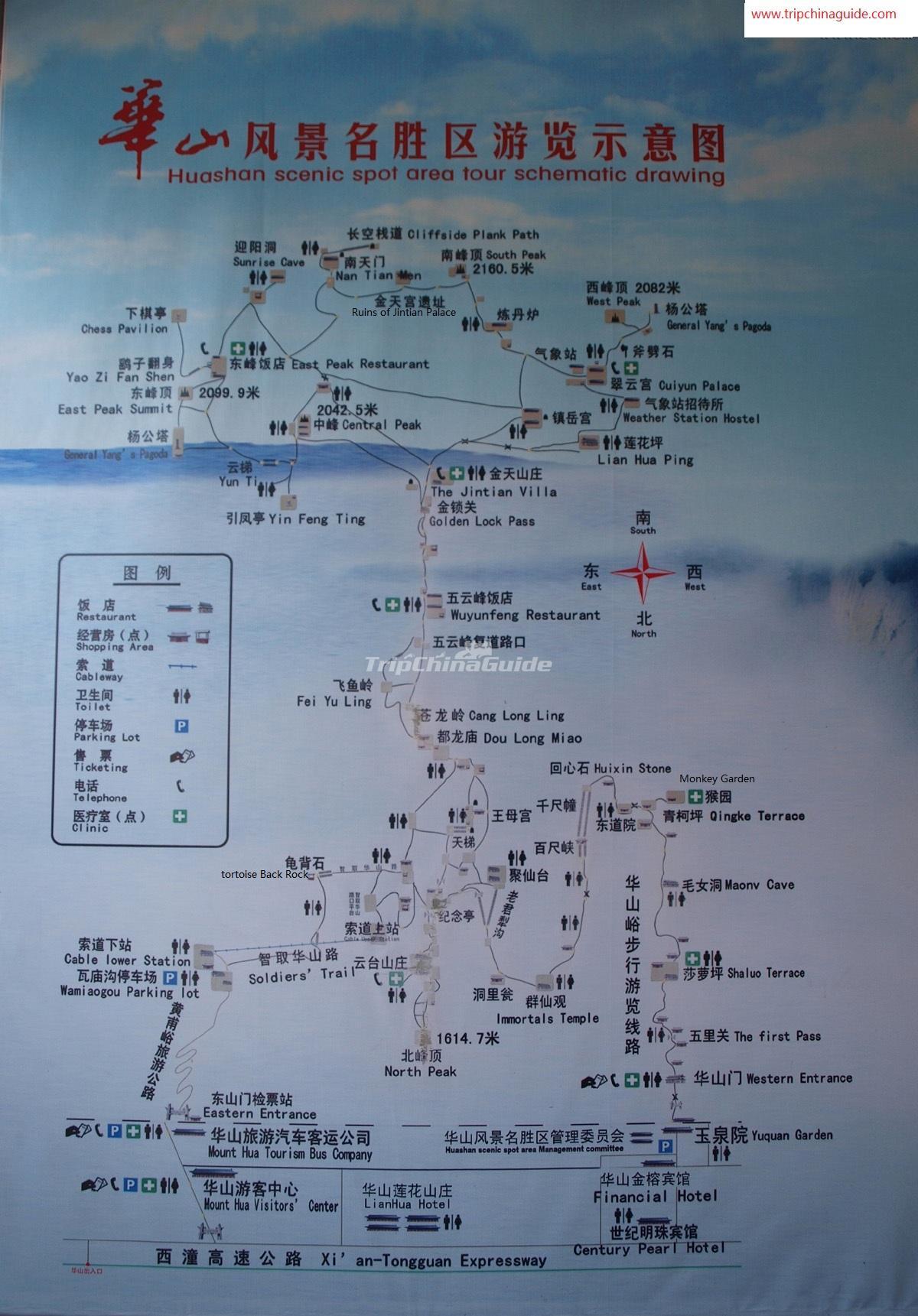 Mount Hua Map Xi An Mount Hua Photos