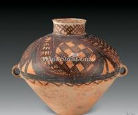 Yang Shao Culture Painted Pottery Binaural Pot Neolithic Period