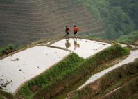 Women Walking at Longji Rice Terrace Longsheng