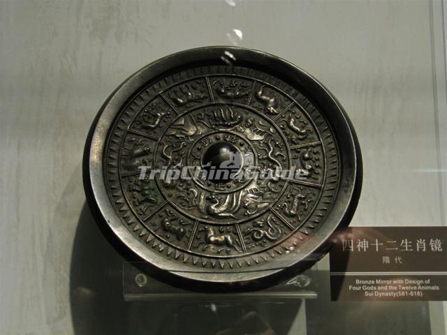 Bronze Mirror with Design of Four Gods and the Twelve Animals Sui Dynasty