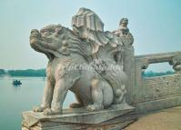 A Stone Lion Sculpture at Summer Palace Beijing