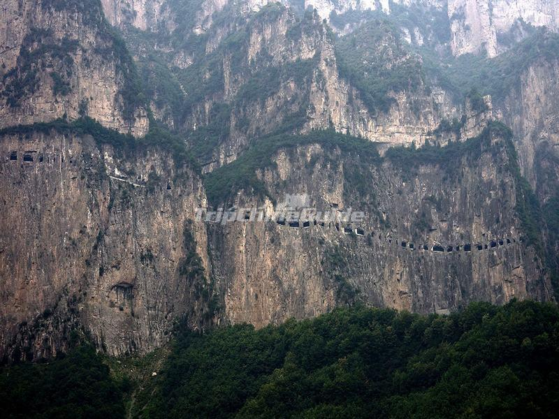 A Highway Built Along the Cliffs in Taihang Mountains