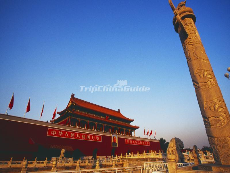 Close-up of Tiananmen Gate and an Ornamental Column