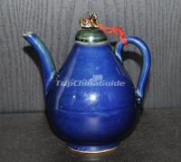 Blue-Glazed Pyriform Teapot Yuan Dynasty