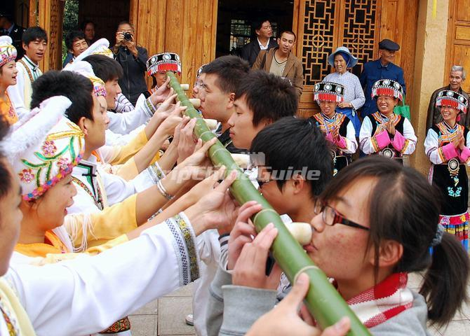 Greeting Guests at Yunnan Nationalities Village